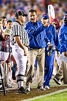 November 29, 2008:     Florida head coach Urban Meyer argues with the Linesman during non-conference game action between the University of Florida Gators  and the Florida State Seminoles at Doak Campbell Stadium in Tallahassee, Florida.   Florida defeated Florida State 45-15.