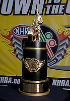 Sep 13, 2013; Charlotte, NC, USA; Detailed view of the NHRA championship trophy during qualifying for the Carolina Nationals at zMax Dragway. Mandatory Credit: Mark J. Rebilas-