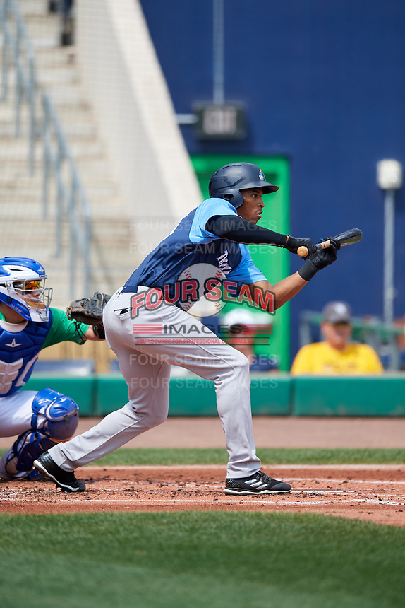 Trenton Thunder right fielder Rashad Crawford (20) squares around to bunt during a game against the Hartford Yard Goats on August 26, 2018 at Dunkin' Donuts Park in Hartford, Connecticut.  Trenton defeated Hartford 8-3.  (Mike Janes/Four Seam Images)