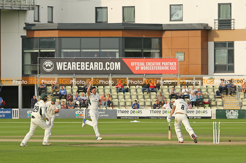Worcestershire's Josh Tongue celebrates bowling the wicket of Durham's Jack Burnham during Worcestershire CCC vs Durham CCC, Specsavers County Championship Division 2 Cricket at New Road on 26th September 2017