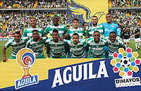 BOGOTÁ - COLOMBIA, 10-08-2019:Formación de La Equidad  ante el  Atlético Nacional durante partido por la fecha 5 de la Liga Águila II 2019 jugado en el estadio Nemesio Camacho El Campín  de la ciudad de Bogotá. /Team of La Equidad agaisnt  of Atlético Nacional  during the match for the date 5th of the Liga Aguila II 2019 played at Nemesio Camacho El Campin  stadium in Bogota city. Photo: VizzorImage / Felipe Caicedo / Staff.