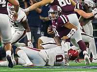 Hawgs Illustrated/Ben Goff<br /> De'Jon Harris, Arkansas linebacker, sacks Kelln Mond, Texas A&M quarterback, in the 4th quarter Saturday, Sept. 29, 2018, during the Southwest Classic at AT&T Stadium in Arlington, Texas.