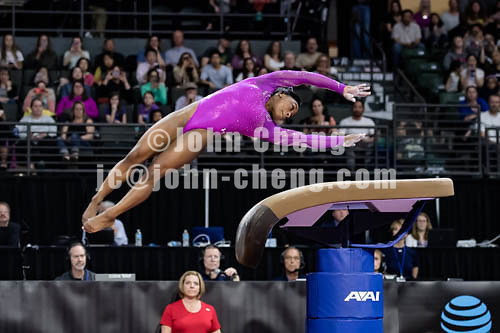 4/9/16 Simone Biles debuted the Cheng Fei 2nd vault at the Pacific Rim Championships at the Xfinity Center in Everett, Washington.  Biles went on to win the Women's All Around title Gold Medal.
