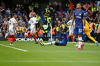 Kurt Zouma of Chelsea shows frustration after conceding late during the Premier League match between Chelsea and Sheff United at Stamford Bridge, London, England on 31 August 2019. Photo by Carlton Myrie / PRiME Media Images.