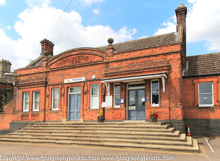 Railway train station building Thetford, Norfolk, England, UK built 1889