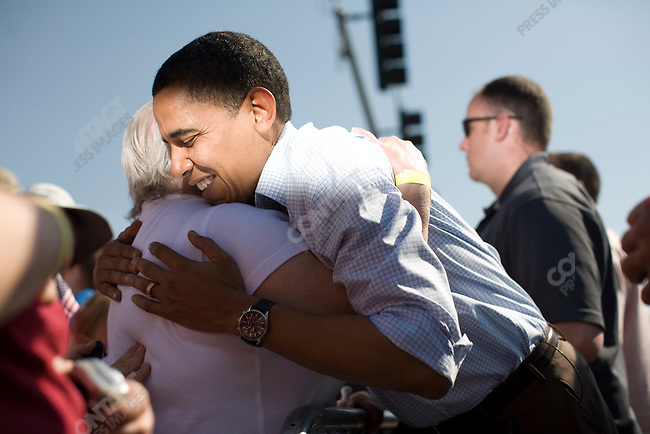 Senator Barack Obama, Democratic contender for the Presidential nomination, greets supporters at a fourth of July picnic, Montana Mining Museum. Butte, Montana, July 4, 2008