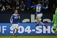 FUSSBALL   1. BUNDESLIGA   SAISON 2011/2012   22. SPIELTAG FC Schalke 04 - VfL Wolfsburg         19.02.2012 Christian Fuchs (li) und Klaas Jan Huntelaar (re, beide FC Schalke 04) jubeln nach dem 4:0