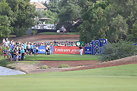 Patrick Reed (USA) on the 18th tee during the 2nd round of the DP World Tour Championship, Jumeirah Golf Estates, Dubai, United Arab Emirates. 16/11/2018<br /> Picture: Golffile | Fran Caffrey<br /> <br /> <br /> All photo usage must carry mandatory copyright credit (© Golffile | Fran Caffrey)