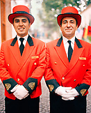 TURKEY, Istanbul, portrait of two bellboys standing side by side at the Hotel Kempinski.