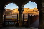 India, Jaipur, Historical City, Jaipur Fort photographed through arch
