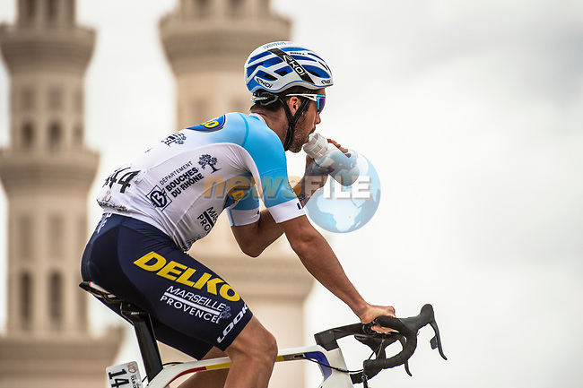 Alexis Guerin (FRA) Delko Marseille Provence before the start of Stage 5 of the 10th Tour of Oman 2019, running 152km from Samayil to Jabal Al Akhdhar (Green Mountain), Oman. 20th February 2019.<br /> Picture: ASO/Kåre Dehlie Thorstad | Cyclefile<br /> All photos usage must carry mandatory copyright credit (© Cyclefile | ASO/Kåre Dehlie Thorstad)