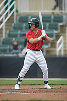 Steele Walker (6) of the Kannapolis Intimidators at bat against the Rome Braves at Kannapolis Intimidators Stadium on April 7, 2019 in Kannapolis, North Carolina. The Intimidators defeated the Braves 2-1. (Brian Westerholt/Four Seam Images)