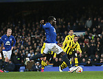 Romelu Lukaku of Everton scores from the penalty spot for his first goal of the night - UEFA Europa League Round of 32 Second Leg - Everton vs Young Boys - Goodison Park Stadium - Liverpool - England - 26th February 2015 - Picture Simon Bellis/Sportimage