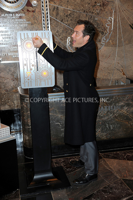 www.acepixs.com<br /> November 14, 2016  New York City<br /> <br /> Jude Law at The Empire State Building in honor of Only Make Believe on November 14, 2016 in New York City.<br /> <br /> Credit: Kristin Callahan/ACE Pictures<br /> <br /> Tel: 646 769 0430<br /> Email: info@acepixs.com