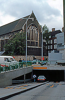 Nicholas Grimshaw: Sainsbury's, Camden Town, Entrance to underground parking garage.  Photo '90.