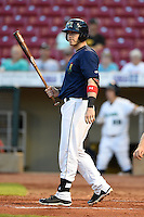 Cedar Rapids Kernels catcher Mitch Garver (25) at bat during a game against the Quad Cities River Bandits on August 18, 2014 at Perfect Game Field at Veterans Memorial Stadium in Cedar Rapids, Iowa.  Cedar Rapids defeated Quad Cities 4-2.  (Mike Janes/Four Seam Images)