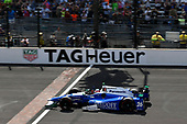 Verizon IndyCar Series<br /> Indianapolis 500 Race<br /> Indianapolis Motor Speedway, Indianapolis, IN USA<br /> Sunday 28 May 2017<br /> Takuma Sato, Andretti Autosport Honda crosses the finish line and the yard of bricks under the checkered flag for the win. <br /> World Copyright: Scott R LePage<br /> LAT Images<br /> ref: Digital Image lepage-170528-indy-10494c
