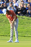 Tommy Fleetwood (Team Europe) putts on the 12th green during Saturday's Foursomes Matches at the 2018 Ryder Cup 2018, Le Golf National, Ile-de-France, France. 29/09/2018.<br /> Picture Eoin Clarke / Golffile.ie<br /> <br /> All photo usage must carry mandatory copyright credit (© Golffile | Eoin Clarke)