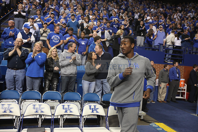 UK freshman guard John Wall runs out onto the court at Rupp Arena before the basketball game against Campbellsville on Monday night, Nov. 2, 2009. Photo by Britney McIntosh | Staff