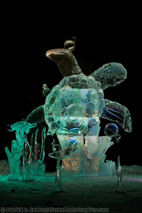 "Multi-block sculpture titled ""Swimming lesson"" for the 2009 World Ice Art Championships in Fairbanks, Alaska. Team members: Djsuren Lkhagvadorj, Tsagaan Munkh-erdene, Mark Davis, Ed Winslow. 2nd place in the realistic category."