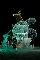 "Multi-block sculpture titled ""Swimming lesson"" for the 2009 World Ice Art Championships in Fairbanks, Alaska. Team members: Djsuren Lkhagvadorj, Tsagaan Munkh-erdene, Mark Davis, Ed Winslow. 2nd place in the realistic category."