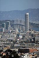 aerial photograph One Rincon Hill Bay Bridge skyscrapers San Francisco