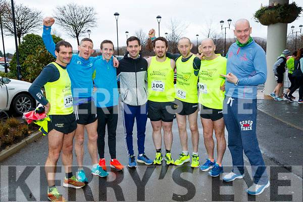 Vinny O'Leary, Chris Grayson, Derek Griffin, John Heaphy, Greg McNamara,  Fozzy Forristel, Mike Kissane and John Coleman (Kerry Crusaders), who took part in the Optimal Fitness 10 miler run at The Rose Hotel, Tralee, on Sunday morning last.