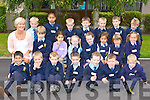 Sheila Goulding with her junior infants class at St Oliver's NS, Killarney on Thursday..
