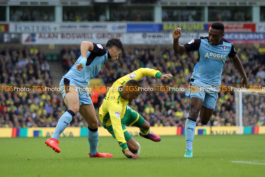 Martin Olsson of Norwich City goes down under the challenge from Joe Newell of Rotherham United during Norwich City vs Rotherham United, Sky Bet EFL Championship Football at Carrow Road on 15th October 2016