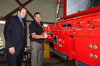 Vehicle Weighing Solutions- Chesterfield  ? Julian Glasspole, Managing Director of Vehicle Weighing Solutions, pictured with local MP Toby Perkins