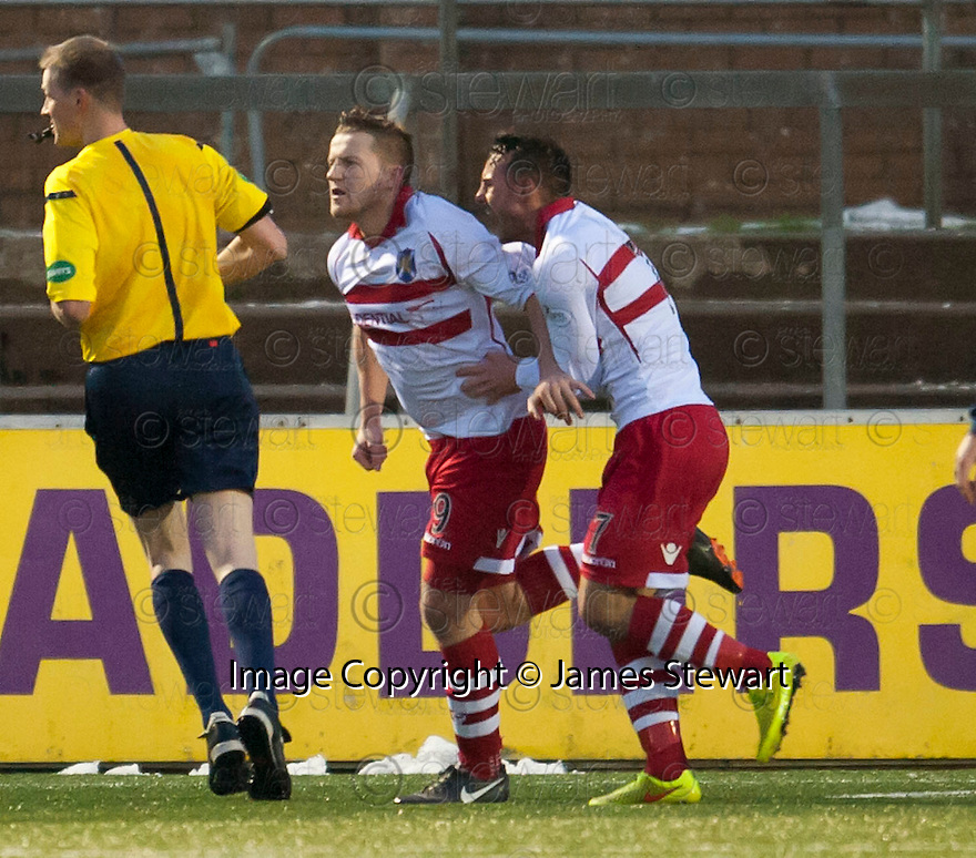 Stirling's Steven Doris (9)  celebrates after he scores their first goal.