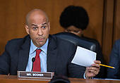 United States Senator Cory Booker (Democrat of New Jersey) questions Judge Brett Kavanaugh as he testifies before the United States Senate Judiciary Committee on his nomination as Associate Justice of the US Supreme Court to replace the retiring Justice Anthony Kennedy on Capitol Hill in Washington, DC on Thursday, September 6, 2018.<br /> Credit: Ron Sachs / CNP<br /> (RESTRICTION: NO New York or New Jersey Newspapers or newspapers within a 75 mile radius of New York City)