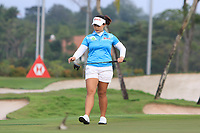 Moriya Jutanugarn (THA) in action on the 1st during Round 2 of the HSBC Womens Champions 2018 at Sentosa Golf Club on the Friday 2nd March 2018.<br /> Picture:  Thos Caffrey / www.golffile.ie<br /> <br /> All photo usage must carry mandatory copyright credit (&copy; Golffile | Thos Caffrey)