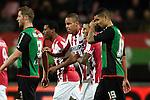 Nederland, Nijmegen, 15 december  2012.Eredivisie.Seizoen 2012/2013.N.E.C. - PSV.Mathias Jattah-Njie Jorgensen van PSV Zanka van PSV juicht na het scoren van de 0-1