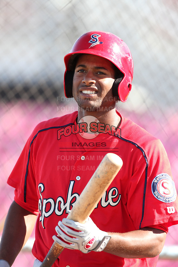 Spokane Indians outfielder Ruben Sierra,jr. #33 before a game against the Salem-Keizer Volcanoes at Volcanoes Stadium on August 10, 2011 in Salem-Keizer,Oregon. Salem-Keizer defeated Spokane 7-6.(Larry Goren/Four Seam Images)