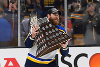 June 12, 2019: St. Louis Blues center Ryan O'Reilly (90) receives the Conn Smythe Trophy at game 7 of the NHL Stanley Cup Finals between the St Louis Blues and the Boston Bruins held at TD Garden, in Boston, Mass.  The Saint Louis Blues defeat the Boston Bruins 4-1 in game 7 to win the 2019 Stanley Cup Championship.  Eric Canha/CSM.