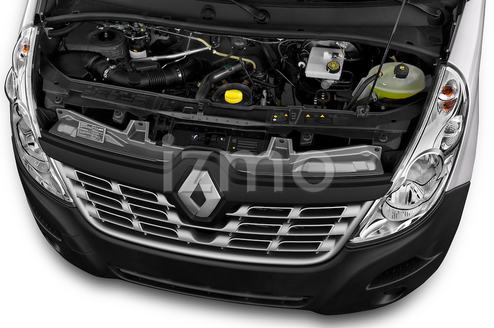 Car Stock 2015 Renault MASTER GRAND CONFORT 4 Door Cargo Van Engine high angle detail view