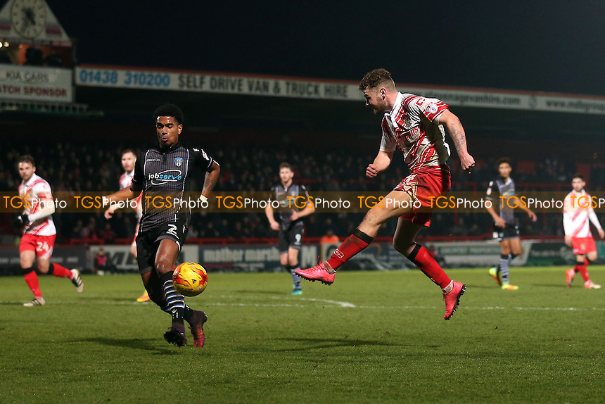 Ben Kennedy of Stevenage with a shot during Stevenage vs Colchester United, Sky Bet EFL League 2 Football at the Lamex Stadium on 31st December 2016