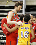 Spain's Pau Gasol with a fan with the Gasol's Los Angeles Laker shirt during training session.July 24,2012(ALTERPHOTOS/Acero)