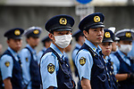 JUNE 28, 2019 - Police watch protestors during the G20 Summit in Osaka, Japan. (Photo by Ben Weller/AFLO) (JAPAN) [UHU]