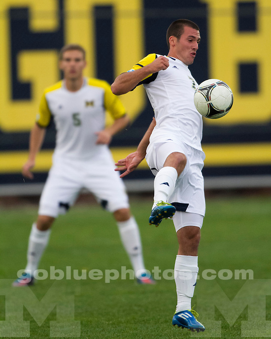 The University of Michigan men's soccer team beat Ohio State, 3-2 in double overtime, at the U-M Soccer Stadium in Ann Arbor, Mich., on September 30, 2012.
