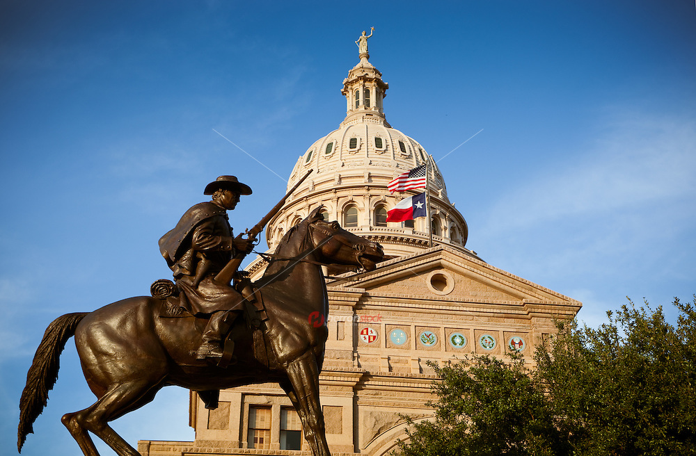 Cowboy Equestrian Monument Statue stands on Texas State Capitol.