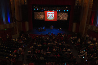 USA fans gather inside the Paramount Theater in Denver, CO before the USA Men's National Team prep rally on March 21, 2013.