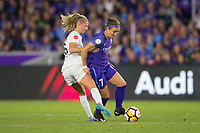 Orlando, FL - Saturday March 24, 2018: Orlando Pride midfielder Christine Nairn (7) protects the ball from Utah Royals defender Katie Bowen (6) during a regular season National Women's Soccer League (NWSL) match between the Orlando Pride and the Utah Royals FC at Orlando City Stadium. The game ended in a 1-1 draw.
