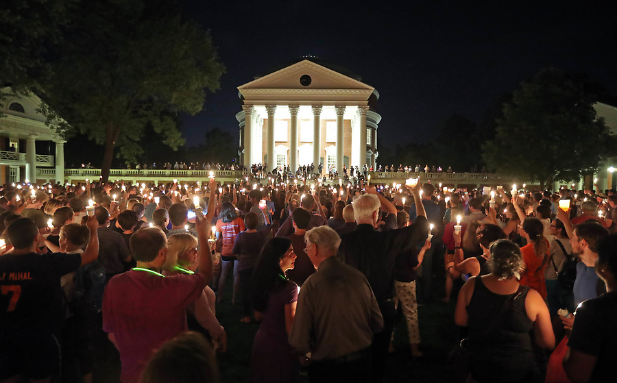 Thousands of UVa students, faculty and Charlottesville residents led a candle light march across grounds Wednesday night in Charlottesville, Va. The march was an effort to stomp out the hate across campus from last Friday's torch march. Photo/Andrew Shurtleff