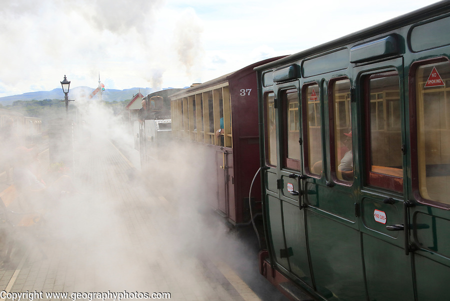 Steam train on the Ffestiniog railway, Porthmadog, Gwynedd, north west Wales, UK