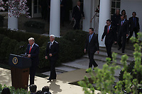 United States President Donald J. Trump and US Vice President Mike Pence arrive for the President to declare a national emergency due to the COVID-19 coronavirus pandemic in the Rose Garden of the White House on March 13, 2020 in Washington, DC.<br /> Credit: Oliver Contreras / Pool via CNP/AdMedia