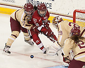 Dru Burns (BC - 7), Miye D'Oench (Harvard - 19) - The Boston College Eagles defeated the visiting Harvard University Crimson 3-1 in their NCAA quarterfinal matchup on Saturday, March 16, 2013, at Kelley Rink in Conte Forum in Chestnut Hill, Massachusetts.