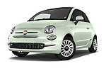 Stock pictures of low aggressive front three quarter view of 2016 Fiat 500 Lounge 3 Door Hatchback Low Aggressive