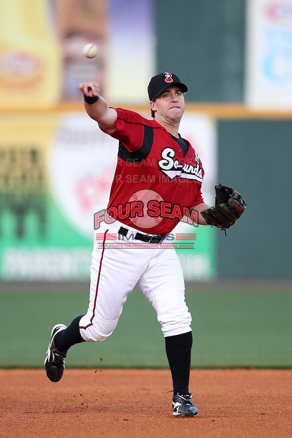 Nashville Sounds third baseman Taylor Green #3 in the field during a game against the Omaha Storm Chasers at Greer Stadium on April 25, 2011 in Nashville, Tennessee.  Omaha defeated Nashville 2-1.  Photo By Mike Janes/Four Seam Images
